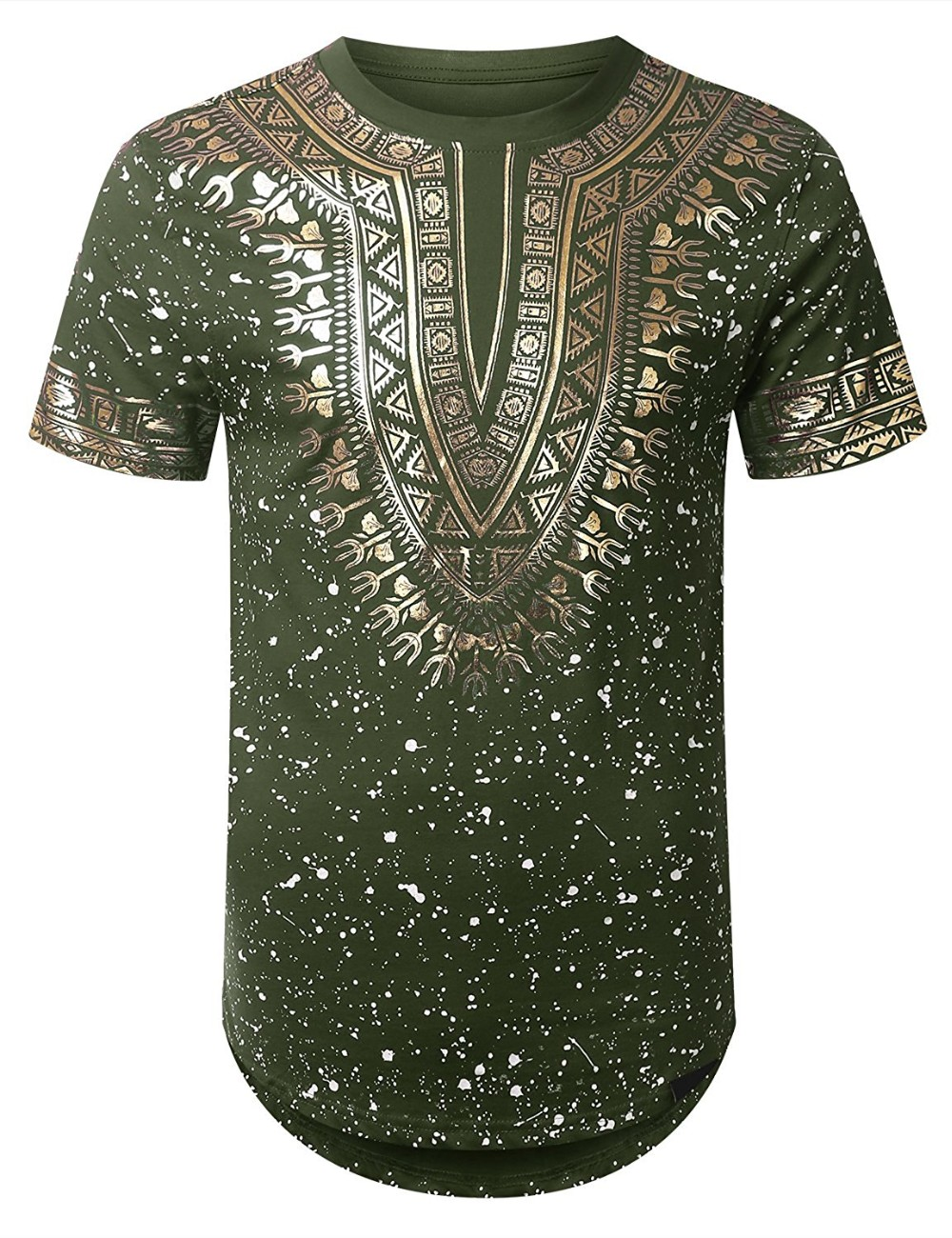 Ts171023 men 39 s paint splatter t shirt with gold foil for Foil print t shirts custom