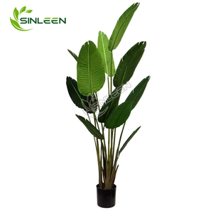 Tree Palm Banana Bird Of Paradise Fabric Leaf Large Indoor Plastic Greenery Artificial Plant