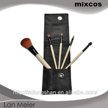 Make up brush set natural wood 5pcs private label makeup brush