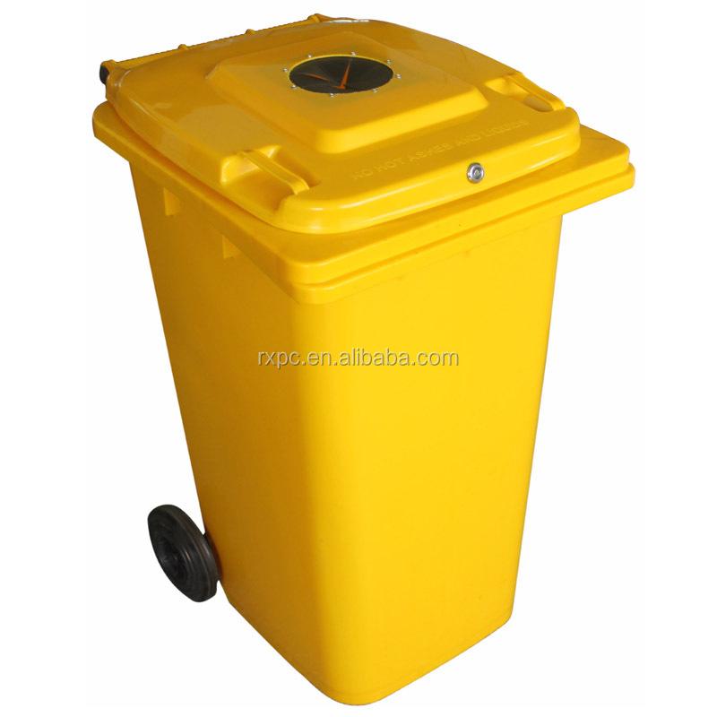 240 lt poubelle avec bouchon en caoutchouc et de verrouillage en jaune pour recyclables en. Black Bedroom Furniture Sets. Home Design Ideas