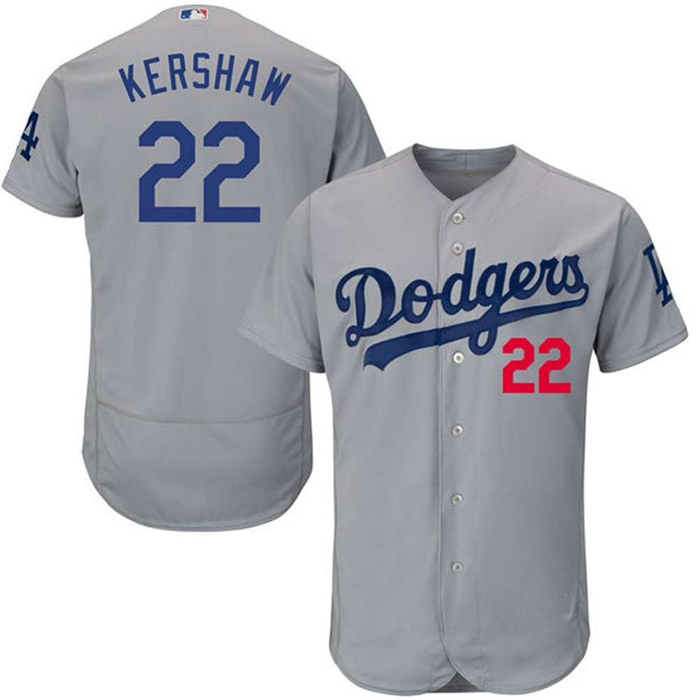 Get Quotations · mu mu Men s Los Angeles Dodgers  22 Clayton Kershaw Cool  Base Grey Jersey Custom Baseball Jersey 28451a293