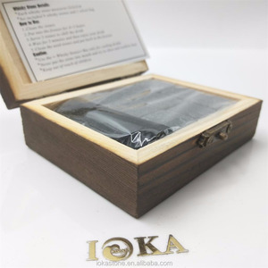Premium Bar Accessories Combination soapstone chilling rocks and wooden box set whiskey stones