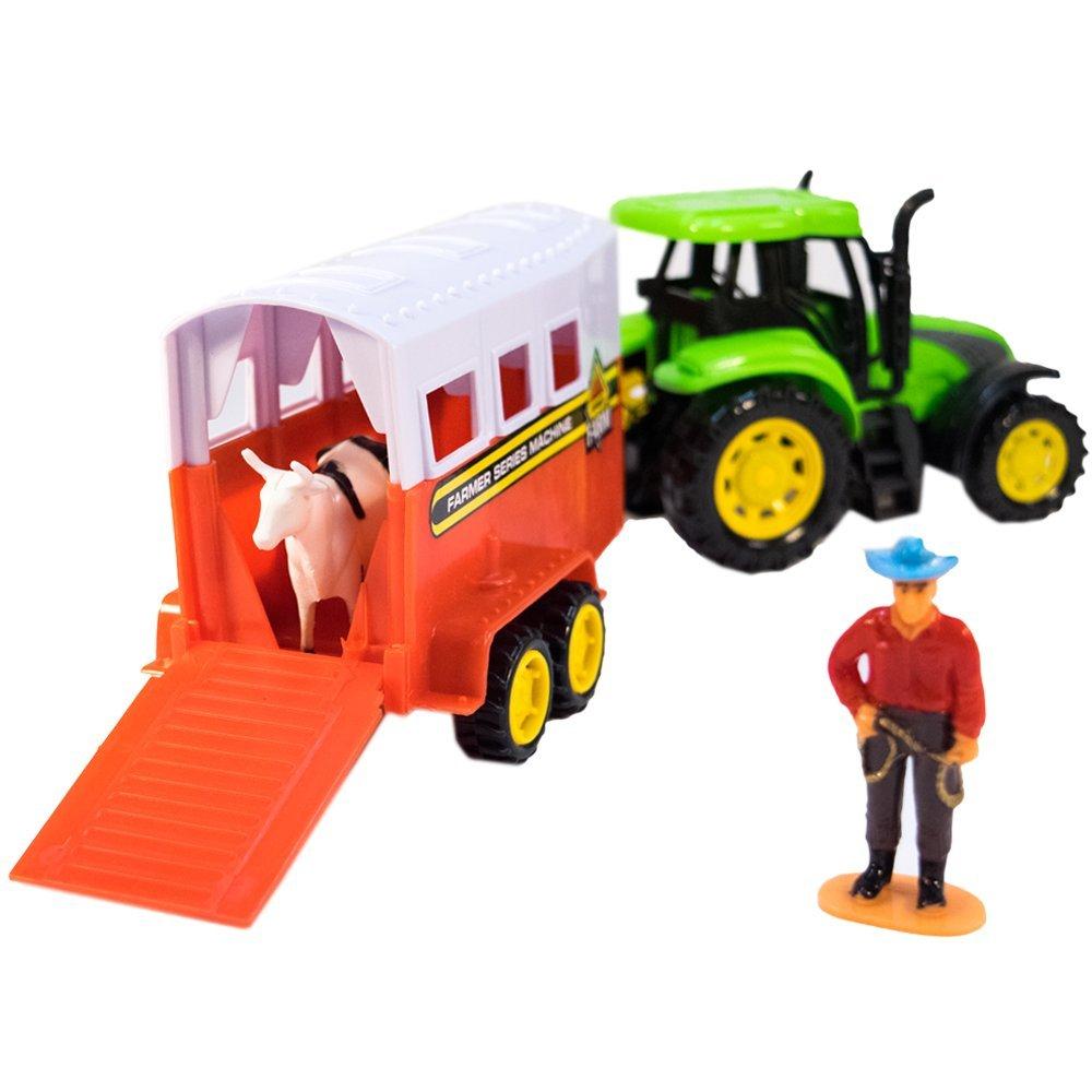 TukTek Kids First Toy Farm Tractor & Trailer w/ Animal Figures Friction Push Truck for Boys & Girls