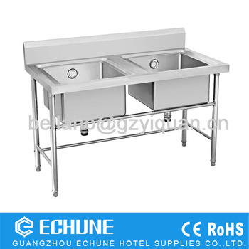 Double Sinks Dish Washing Work Table, Restaurant Kitchen Sink Table