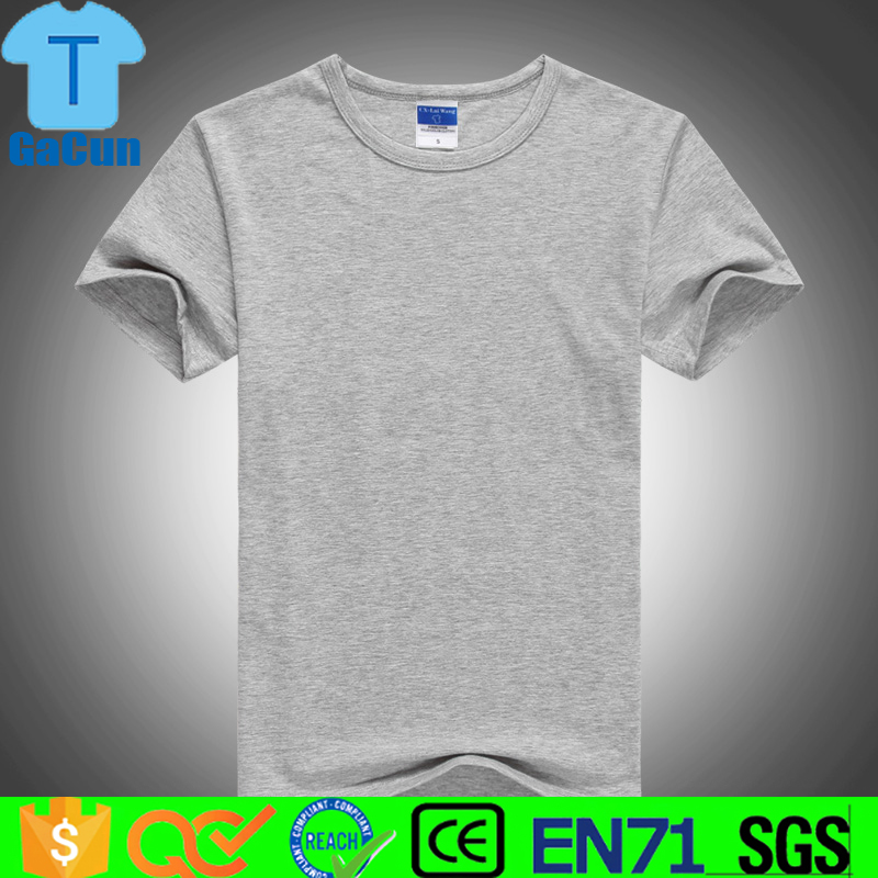 Cheap blank plain print 100% cotton grey t shirt with high quality