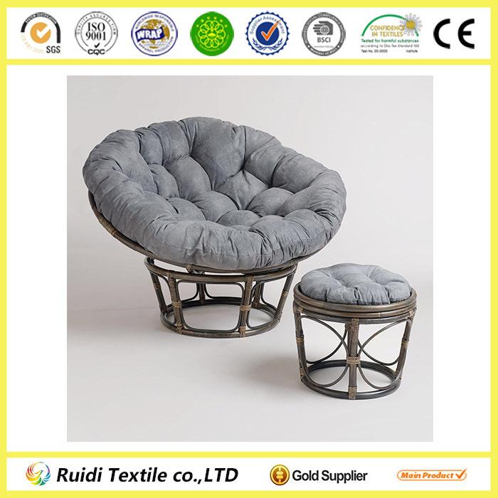 Charcoal grey microsuede papasan chair cushion cover round for Papasan cushion cover