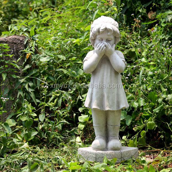 Magnesia Decorative Little Boy And Girl Outdoor Garden Sculpture