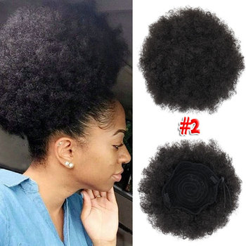 Short Afro Kinky Curly Ponytail Drawstring High Puff Afro Curly Pony wig Clip in on Synthetic Curly Hair Bun