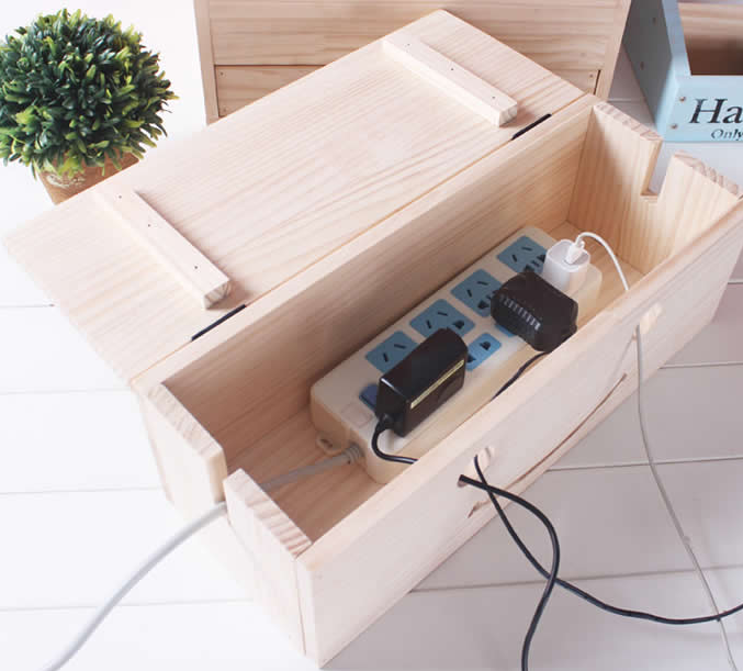 Wood Cable Management Organizer Box with Smiley Face Wire