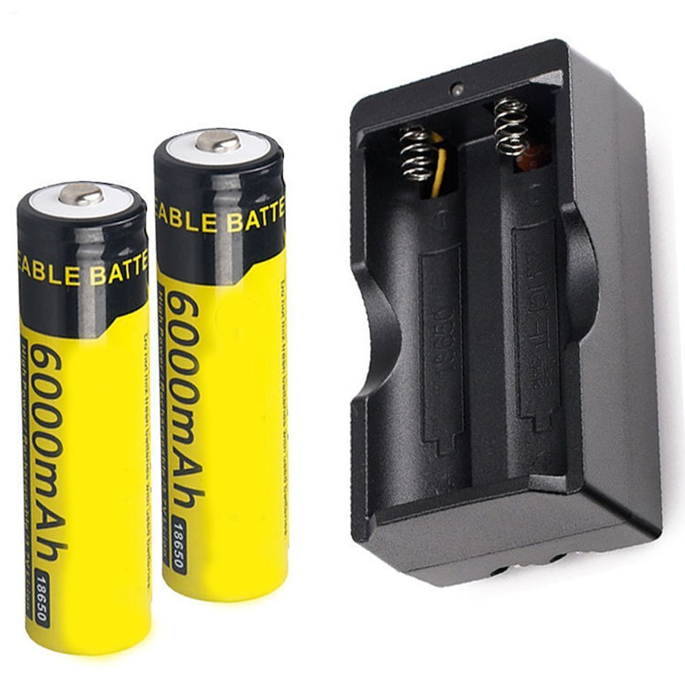 2 Pack 3.7v 18650 Rechargeable Li-ion Battery 6000mAh + Dual Charger for Handheld Flashlights