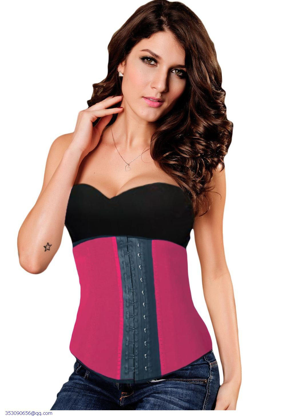 f4cde4eafbd Get Quotations · 2015 Sexy Women Rosy Blue 9 Steel Boned Latex Waist  Training Steampunk Underbust Corset Plus