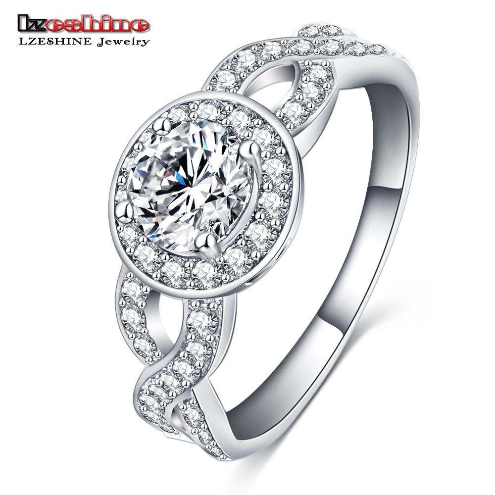 LZESHINE Fashion Wedding Rings For Women Platinum Plated