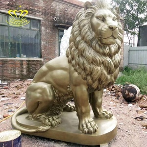 Custom metal craft New product Sitting Brass Lion Statue