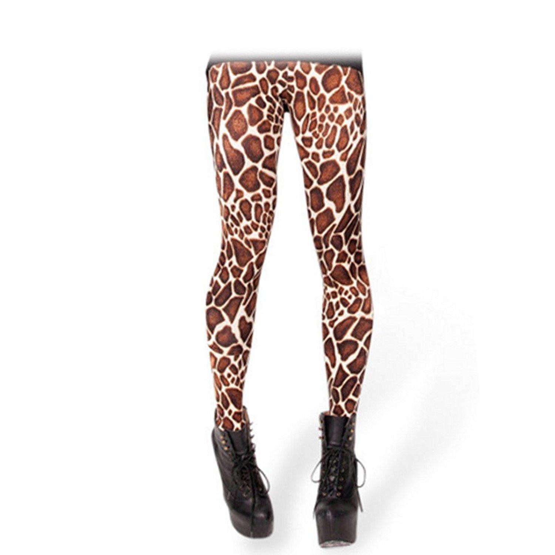 e26a33aca3 Get Quotations · KINDRED Novel ladies leisure leggings concise 3D digital  print Tights Giraffe stripes pattern skinny pants ninth