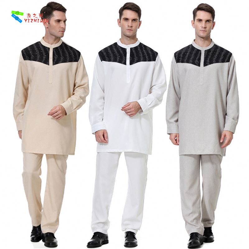 YIZHIQIU National Robe Costumes Two Piece Suit Muslim Men Clothing