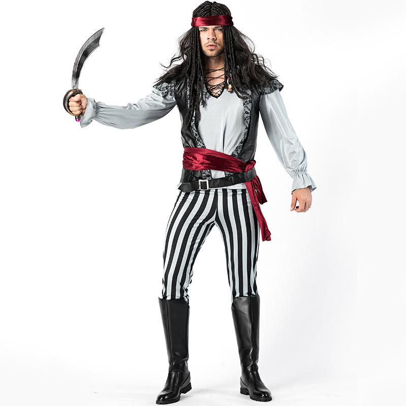 Halloween mannen Zwart-wit Gestreepte Piraat Kostuum Jack Captain Dress Up Cosplay