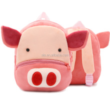 3D Pink Pig baby girls boys premary school backpack cartoon cheap plush soft OEM backpack