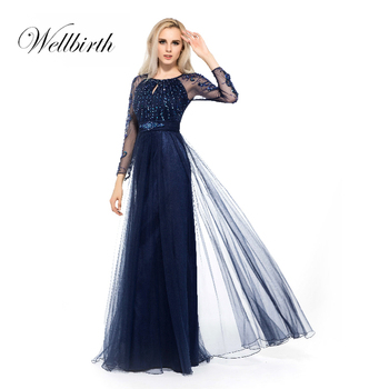 b229481cd9f Indian embroidery Dark blue big size flowing sequins long sleeve chiffon  evening dress lace beaded dresses