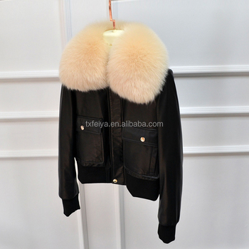 Wholesale Women Real Sheep Skin Leather Down Feather short Coat Jacket With Fox Fur Collar