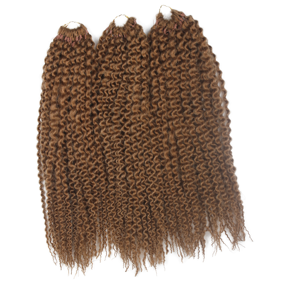 "16"" 3 pcs/pack braiding hair synthetic Hair Pre loop Island Twists Unraveled Senegalese Twist Kinkly Curly Brown Crochet Braids"