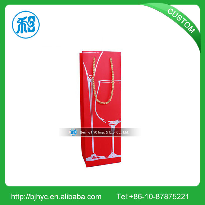 Custom environmental elegant wine gift paper bag with high quality low price