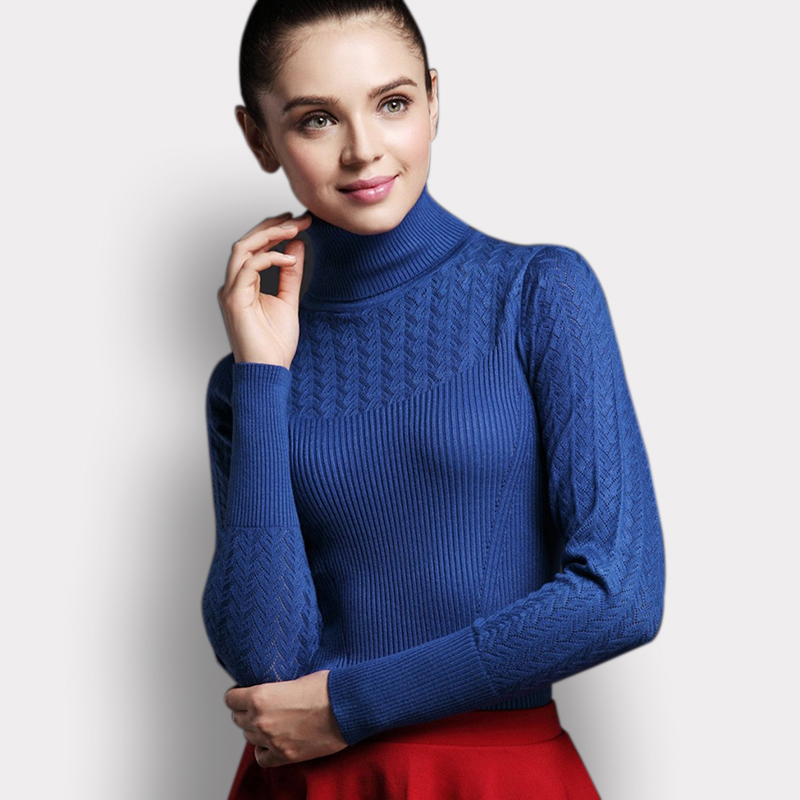 European Solid Hollow Out Turtleneck Fitness Women Winter Sweater 2015 Casual Autumn Ladies Pullovers Knitwear Camperas Mujer