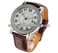top brand round q q alloy case men quartz rhinestone watches with japan movt