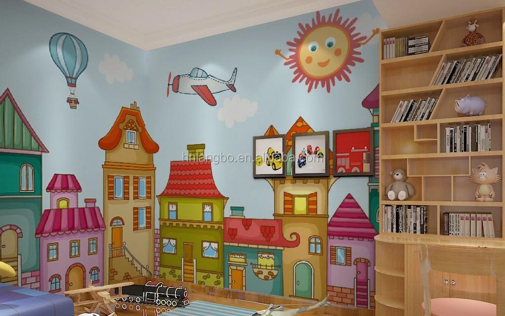 Camera da parati del fumetto dei bambini ragazzo e una for Carta parati camera bambini