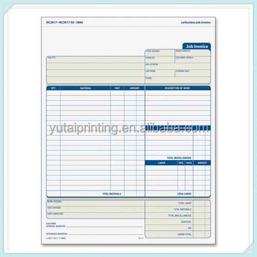 Hot Sale Carbonless Form Sales Order Book Invoice Printing - Buy ...