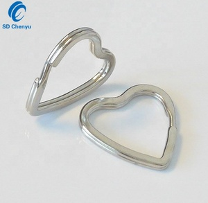 Factory Wholesale 1 inch Silver Plated Metal Heart Shaped Key Rings