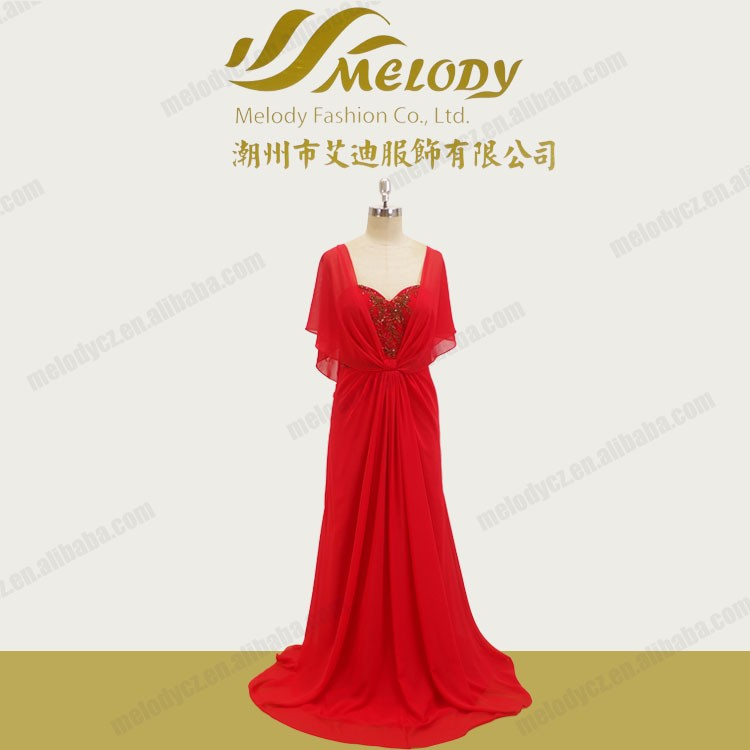 Red chiffon floor-length beaded short sleeve ruffles elegant pictures of evening gown