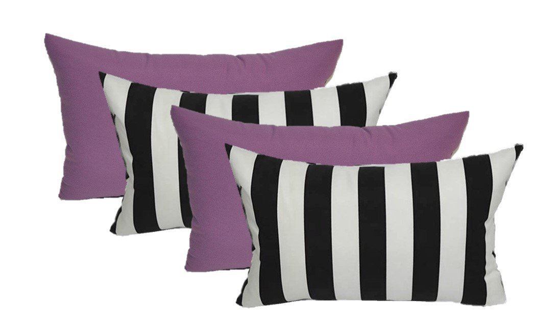 Set of 4 Indoor / Outdoor Decorative Lumbar / Rectangle Pillows - 2 Black & White Stripe and 2 Solid Lavender / Lilac Purple