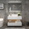 Customized Size Bathroom Basin Artificial marble Cabinet Set Modern MDF Bathroom Vanity with LED Mirror
