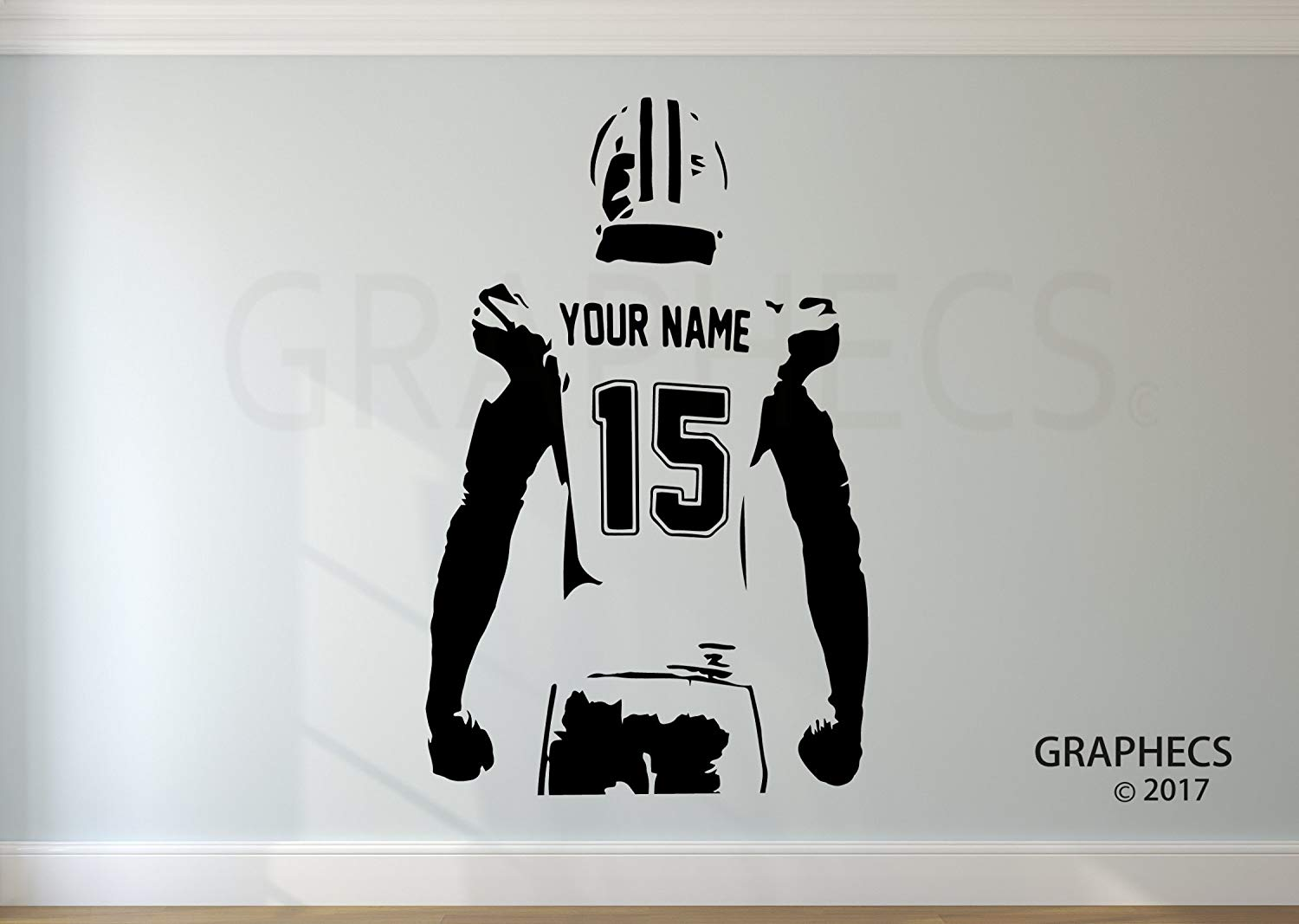 Personalized Custom Football Wall Decal - Choose your NAME & NUMBERS Custom Player Jerseys Vinyl Decal Sticker Decor Kids Bedroom
