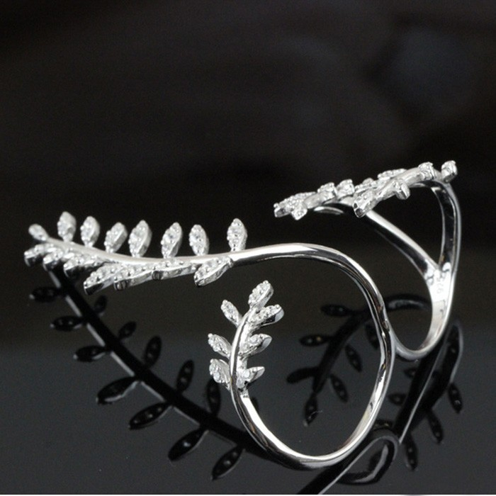 SJB0105 Womens Solid 925 Sterling Silver CZ Love Branch Leaves Two Finger Double Rings