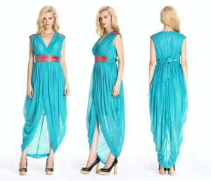 Sky blue loose dresses for old mothers hot sale in indonesian