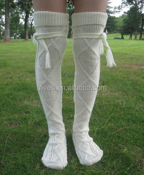 807e09f3a Thick Thigh High Slouch cable knit socks with fold over cuff and tassel tie