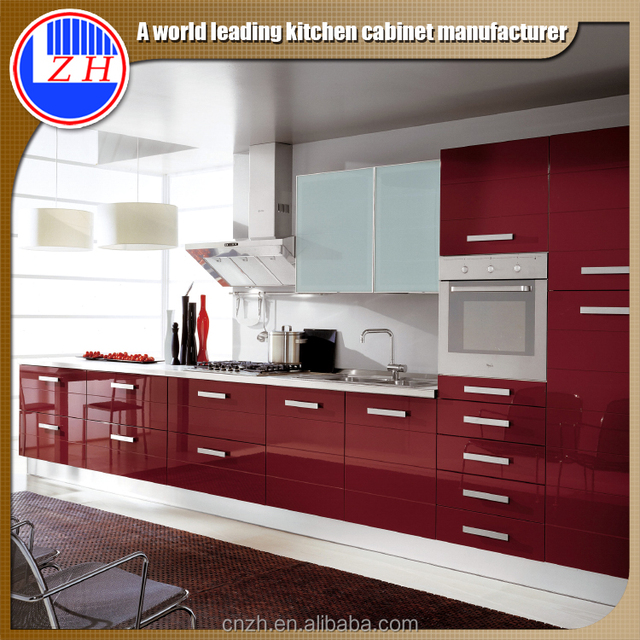 Laminated Acrylicd Mdf Door Cabinet Designs Customized For Kitchen With  Handle