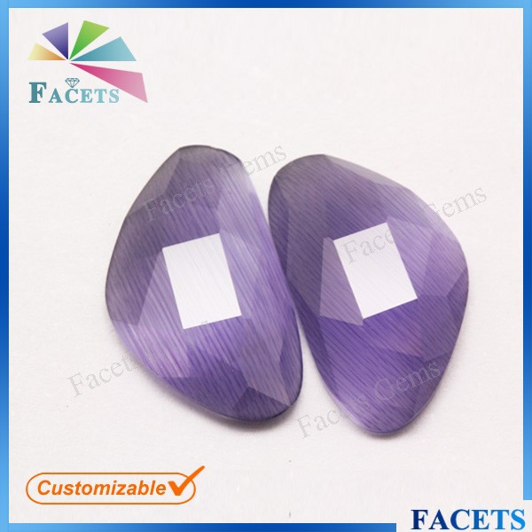 FACETS GEMS Various Color Checekerboard Cut Flat Back Irregular Shape Cat Eye Stone