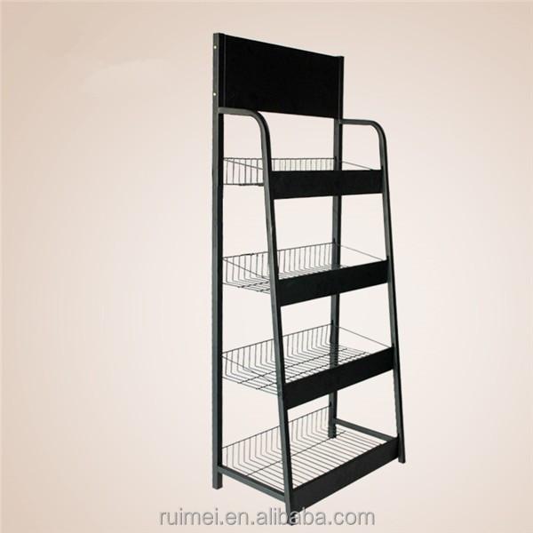 Black Metal Wire Floor Standing Snack Display Racks - Buy Snack ...