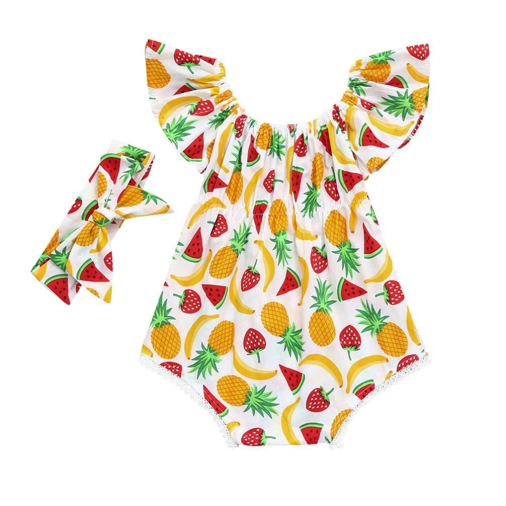Ankola Newborn Jumpsuit,2PCS Set Infant Kids Baby Girls Sleeveless Fruit Print Romper Jumpsuit+Headband Outfits Set for Father's Day