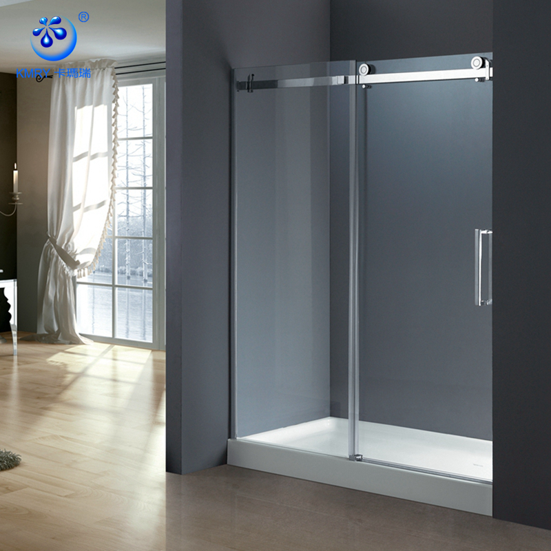 Customized  Matte Black SS304 Soft Close Sliding tempered Glass Shower Door (KD8113S)