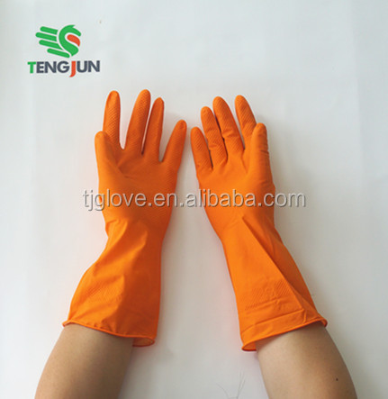 Flock lined thick cleaning rubber household gloves for kitchen