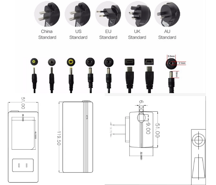AC DC Adapter 12V Switching Power Adapter 5V 7V 9V 12V 15V 18V 0.5A 1A 1.5A 2A 2.5A 3A Customs Data
