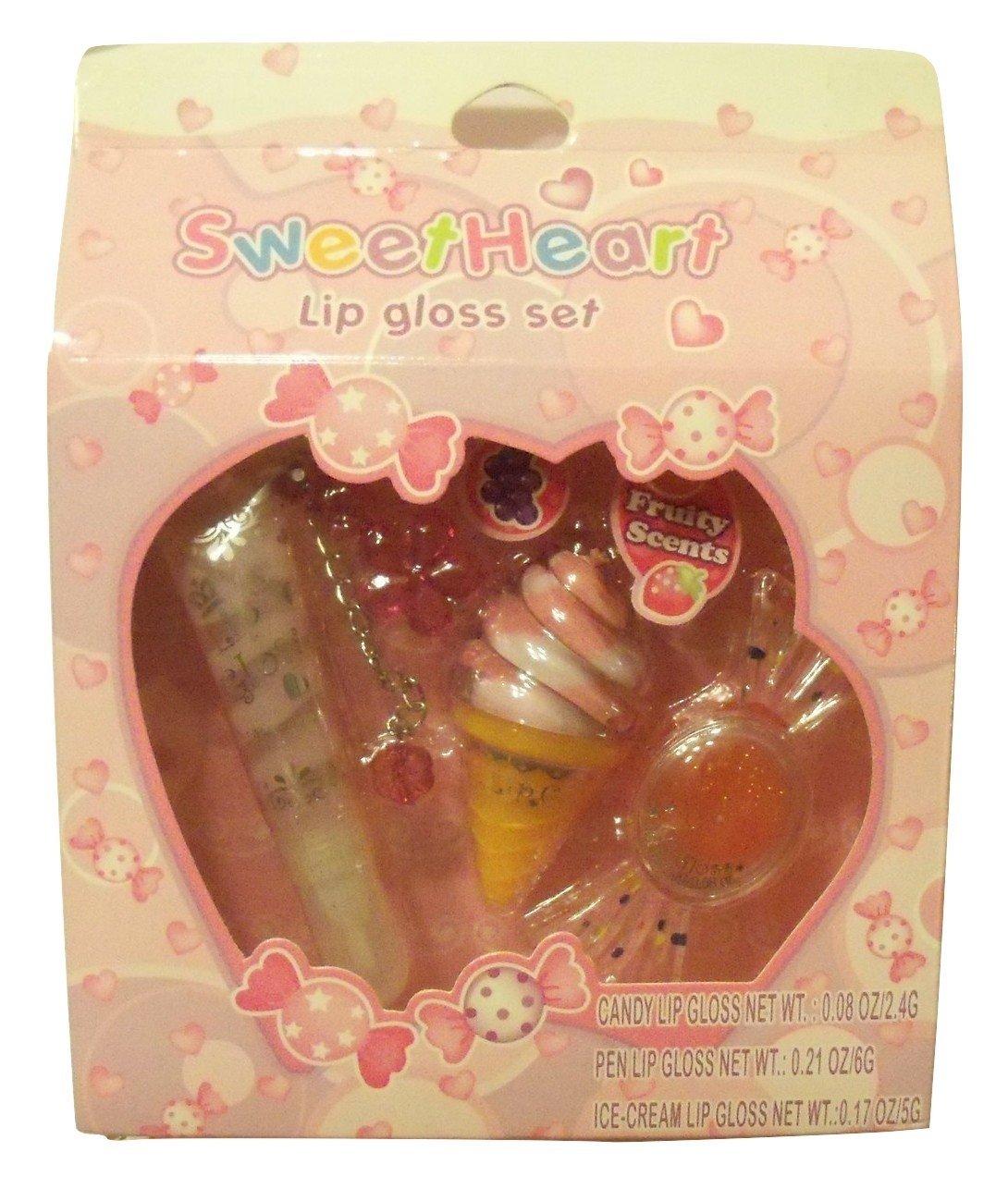 SweetHeart Lip Gloss Set ~ 3 Fruity Scented Lip Glosses for Girls