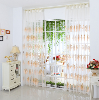 Light Pink Sheer Elegant Living Room Embroidered Curtains Product On