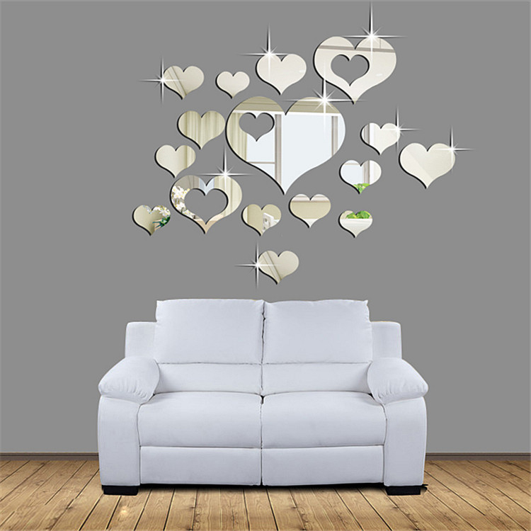 3d stickers plastic wall sticker diy home decor mirror hearts decoration mirror stickers 16 pcs. Black Bedroom Furniture Sets. Home Design Ideas