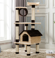 Cat tree house cat cave home with tunnel