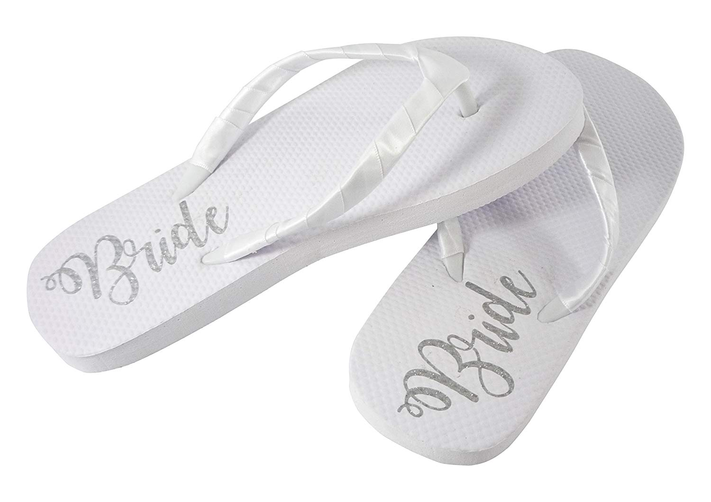 1c6fb36901c3c8 Get Quotations · Bride Sole Flat Flip Flops for Beach Wedding Sandals