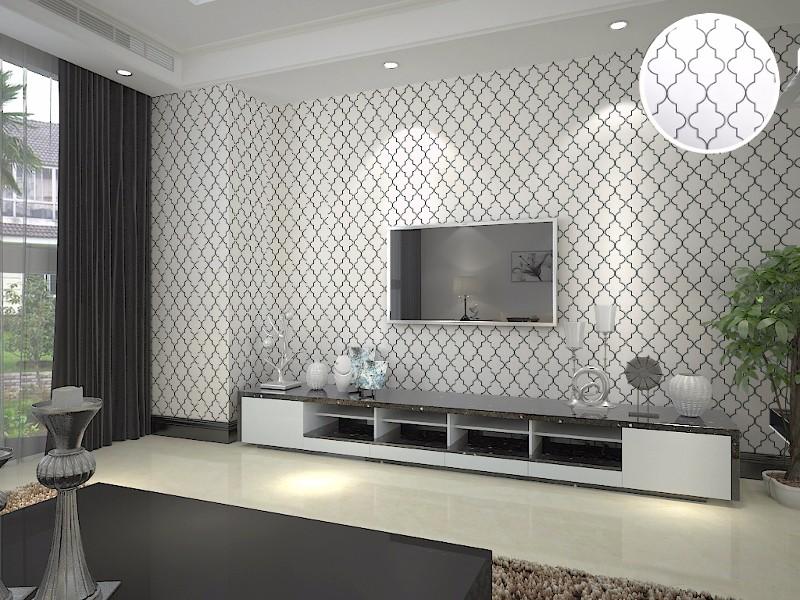 Marokkaanse trellis zwart wit moderne geometrische patroon behang